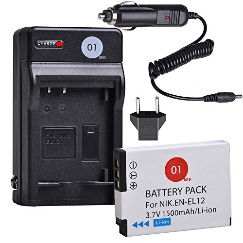(EN-EL12 DOT-01 Battery and Digital Wall Charger Compatible with Nikon Key Mission 360, Nikon Coolpix AW130, A900, W300, S1200pj, S9900, S9500, S9300, S9200, S8200, S6300 (1 Pack, 1500mAh, 3.7V))
