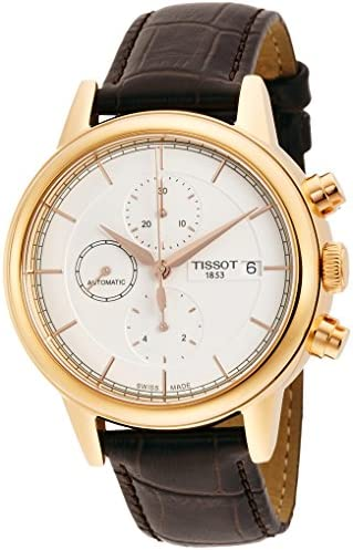 Tissot Men s Carson White Dial Brown Leather Automatic Watch T0854273601100