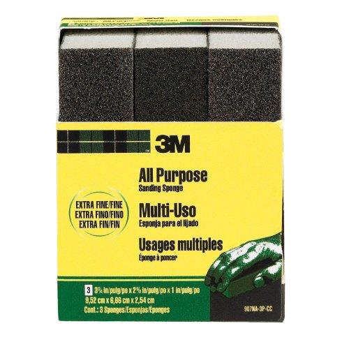 3M Sanding Sponge, Extra Fine, 3.75-Inch by 2.625-Inch by 1-Inch, 3-Pack (Sanding Fine Sponge)