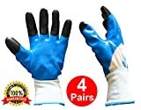 Work, Safety, Gardening Gloves - Nitrile Coated Wrist and Hand for Multipurpose Usage - Thin, Chemical and Oil Resistant, for All Men, Women Hand Protection - Lot 4 pairs, 4 in 1, Blue, Average Size