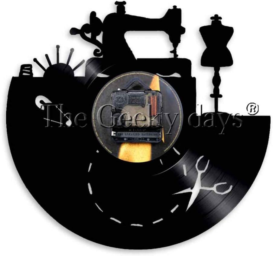 CHANGWW Máquina de Coser Vinyl Record Reloj de Pared Sala de ...