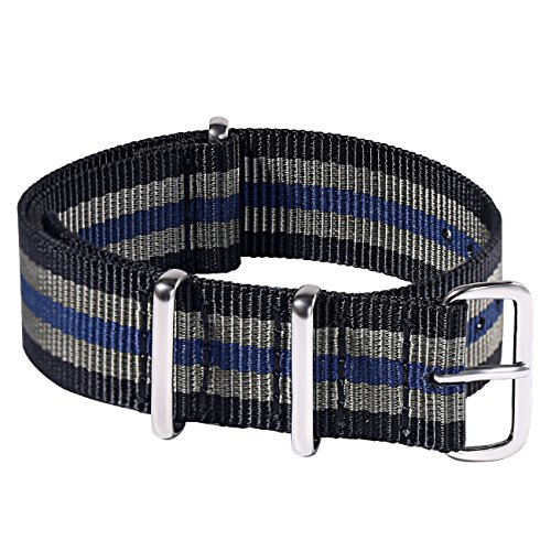 Watch Bands NATO Strap Premium Ballistic Nylon Watch Strap 22mm with Polished Finish Stainless Steel Buckle(Black/Gray/Blue) Ballistic Mens Watch