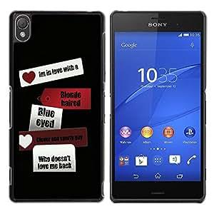 Caucho caso de Shell duro de la cubierta de accesorios de protección BY RAYDREAMMM - Sony Xperia Z3 D6603 / D6633 / D6643 / D6653 / D6616 - Love Heart Black Travel Black Sign Text