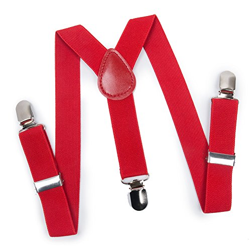 ELENKER Baby Boys Adjustable Elastic Solid Color 1 inch Suspenders (Size 30