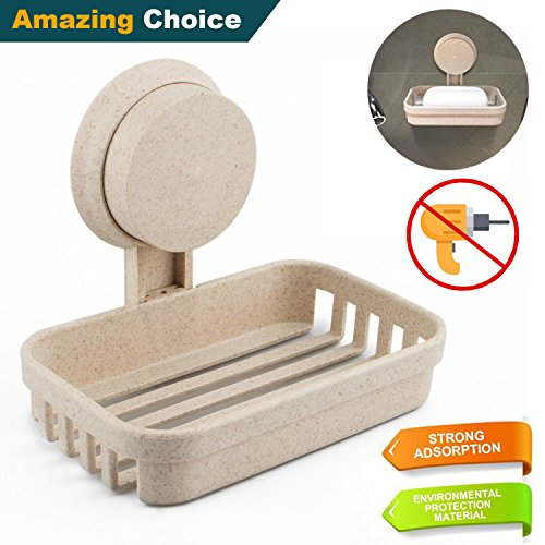 Suction Soap Dish for Shower/Bathroom/Tub and Kitchen Sink Sponge, Life Wave Soap Holder made from Natural Wheat Straw. Soap Case Saver with Tool Free - On Face To Something Hold Glasses