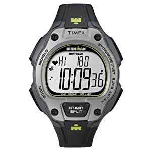 Timex Men's T5K719 Ironman Road Trainer Digital HRM Flex Tech Chest Strap & Full-Size Black/Gray/Lime Green Watch