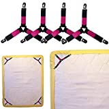 Jaxbo Bed Sheet Clips Straps Suspenders- Metal Grippers, Adjustable Velcro, Non-slip Hold Bed Sheet in Place King/Queen/ Twin Set of 4