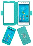 Acm SVIEW Window Designer Rotating Flip Flap Case for Micromax Canvas Unite 4 Plus Mobile Smart View Cover Stand Turquoise