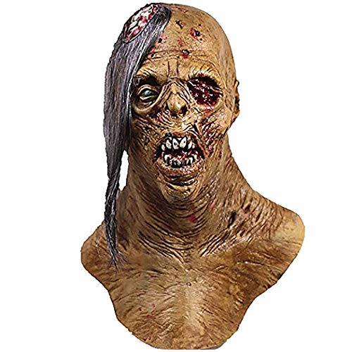 molezu Cyclops Zombie Mask with Exposed Brain, Blood Horror Mask, Latex Biochemical Virus Mask Suit for Costume Party -