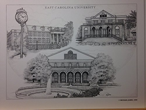 East Carolina 8x10 pen and ink collage print by Campus Scenes