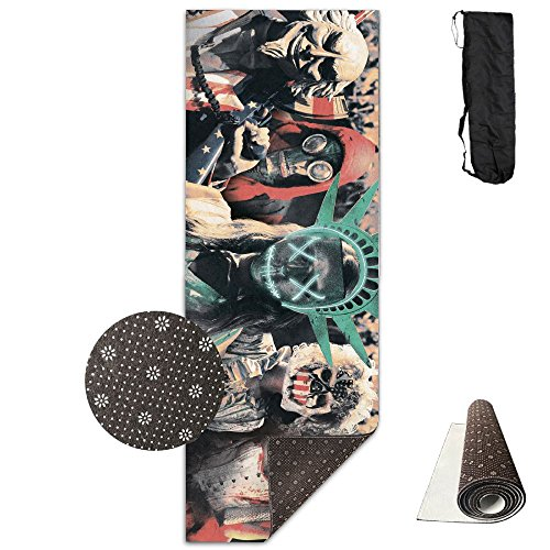 Halloween Masquerade Cosplay Funny Funky Yoga Mat,Crystal Fabric,bottom Non-woven Point Plastic.