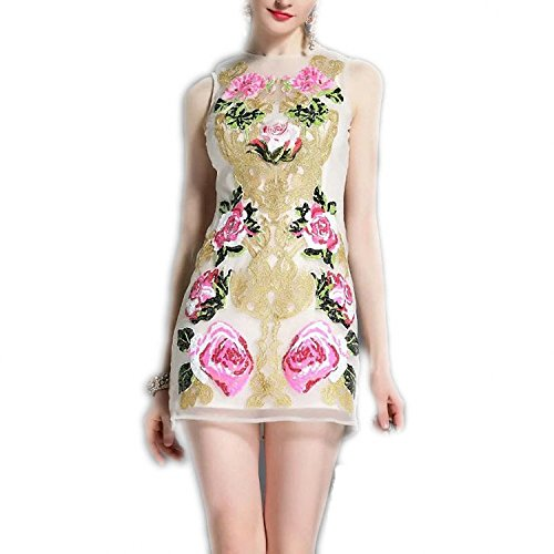 WalterTi Fashion Runway Summer Dress Women's Sleeveless Noble Luxury Gold wire Embroidery Rose Floral Sequined Vintage Dress Ivory - Baton Mall Rouge