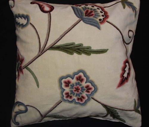 Crewel Pillow Gulposh L Off White Cotton Velvet (20X20)