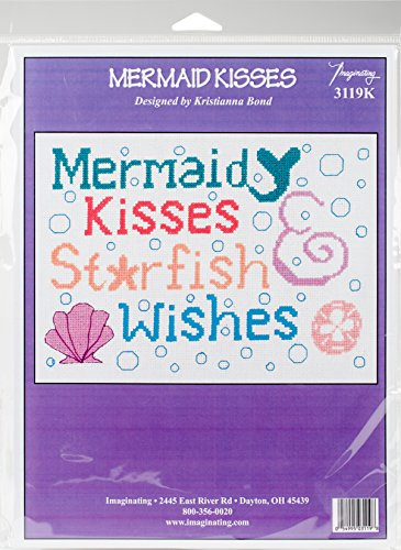 "Mermaid Kisses Counted Cross Stitch Kit-9""X6.5"" 14 Count -  M & R Technologies, I3119"