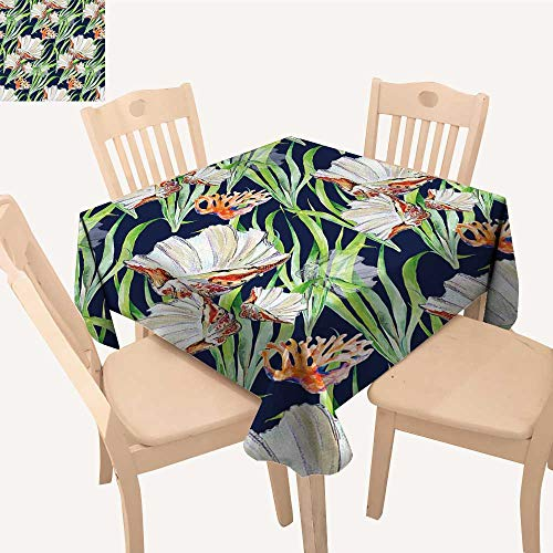 UHOO2018 Polyester Tablecloth Seashell Coral Alga Square/Rectangle Spillproof Tablecloth,52x 53 ()