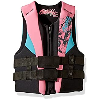 O'Neill Youth Reactor USCG Life Vest, Black/Pink/Turqouise, 50-90 lbs