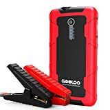 GOOLOO 600A Peak Jump Starter (Up to 6.0L Gas or 4.5L Diesel Engine) Portable Power Pack Auto Battery Booster Phone Charger with Dual Quick Charge Output, Built in LED Light, Black/Red