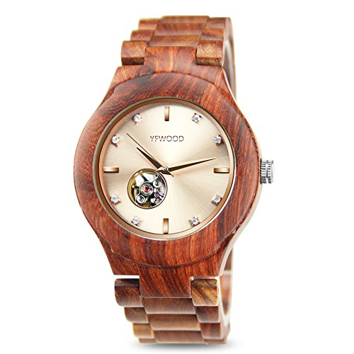 Men Watches Wooden Watches Automatic Mechanical Movement Handmade Wood Band Lightweight Vintage Wood Wristwatch by THAITOO