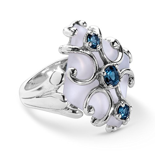 Carolyn Pollack Sterling Silver Crystal Quartz & Blue Topaz Cross Ring - Size 8 ()