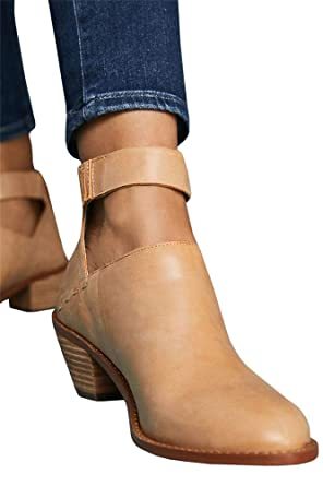 7d1bcecc485e Women s Ankle Booties Straps V Cut Stacked Block Heel Pointed Toe Zipper  Faux Leather Boots (
