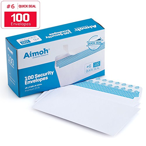 100 #6 3/4 Security SELF SEAL Envelopes - Windowless, Security Tint, Ideal for Personal & Professional Mailing, QUICK-SEAL Closure - White - 3 5/8 x 6 1/2 Inches - 24 LB - 100 Box (34600) (Tint Security)