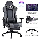KILLABEE Massage Gaming Chair Racing Office Chair - Adjustable Massage Lumbar Cushion, Retractable