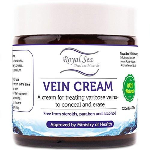 Royal Dead Sea Vein Cream to Conceal and Erase Varicose / Spider Veins Treatment, Reduce Phlebitis, Thrombophlebitis, Broken Legs Capillary Works 4oz /120ml