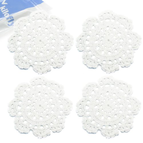 kilofly-small-handmade-crochet-round-cotton-lace-table-placemats-doilies-for-cup-glass-value-pack-se