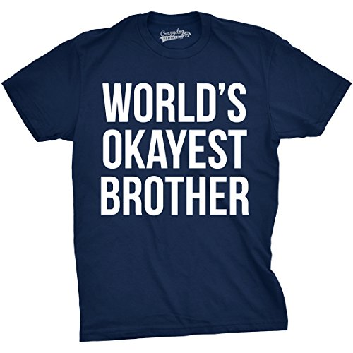 Mens Worlds Okayest Brother Shirt Funny T Shirts Big Brother Sister Gift Idea (Navy) 4XL