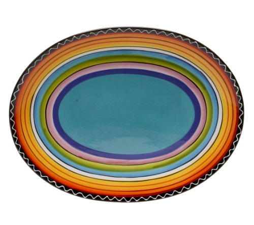 Green Large Platter - Certified International Tequila Sunrise Oval Platter, 16 by 12-Inch