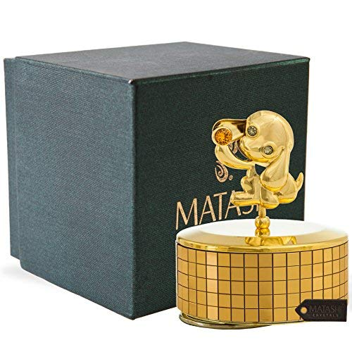 24k Gold Plated Puppy Dog Music Box, Pet Memorial Music Box, Mans Best Friend, Dog Lovers Gift, Plays Memory