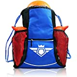Soccerware Youth Soccer Bag Backpack for Kids - XL Capacity | Heavy Duty | Fits Soccer Ball, Shoes/Cleats | U5 - U22 Boys/Girls Adjustable Size I Blue