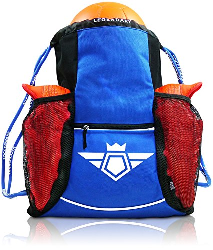 (Soccerware Youth Soccer Bag Backpack for Kids - XL Capacity | Heavy Duty | Fits Soccer Ball, Shoes/Cleats | U5 - U22 Boys/Girls Adjustable Size I Blue)