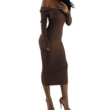 Dasongff Damen Minikleid Langarm Feinstrick Strickkleid Stretch Rollkragen Longpulli Strickpullover Elegant Bodycon Kleid Slim Fit Pullover