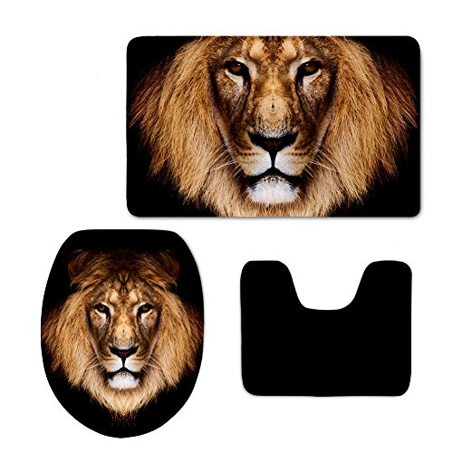 Showudesigns Black Animal Lion Toilet Seat Cover Overcoat Closestool Lid Cover by Showudesigns