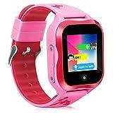 Kids Smart Watch Phone GPS Tracker Ip67 Waterproof Kids Smartwatches Age 3-15 Boys Girls Touch Screen SIM Slot Educational Toys Phone 1.44 Inch Birthday Gift (Pink)