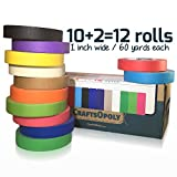 2 Trays Printer - CraftsOpoly Colored Masking Tape Set [10 + Bonus 2 = 12 Pack Variety-Assorted Colors] Fun DIY Art Supplies For Kids, Toddlers, Adults, Artists Crafts and Organizer. Bright Colors. Moving Essentials.