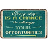 Memory Foam Bath Mat,Lifestyle,Every Day is a Chance to Change Your Opportunities Quote Retro Poster PrintPlush Wanderlust Bathroom Decor Mat Rug Carpet with Anti-Slip Backing,Jade Green Tan