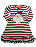 Sara's Prints - Little Girls Puffed Long Sleeve Santa Striped Nightgown, Red, Green 37996-3
