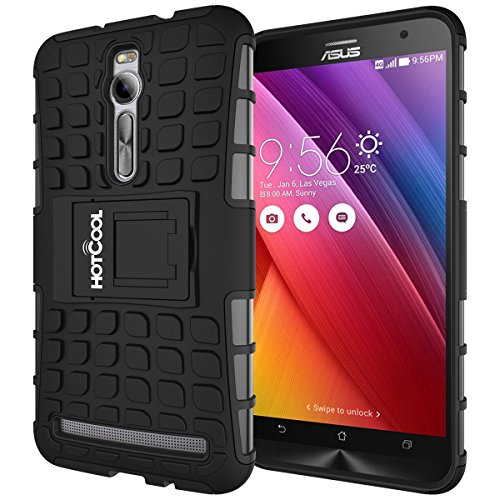 ASUS ZenFone 2 ZE550MLZE551ML Case - HOTCOOL Heavy Duty Rugged Dual Layer Armor with Kickstand Cover Case For ASUS Zenfone 2 ZE550MLZE551ML(Will Not Fit ZE500CL Model) Black