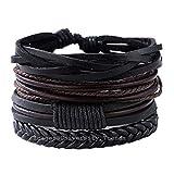 University Trendz Latest Genuine Leather Handmade Woven Bracelet for Men and Women Set of 4 (Multicolour)