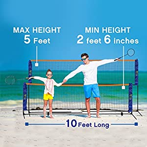 Portable 10 Foot Long and 5 Foot High - Adjustable Height Beach Badminton,Volleyball, Tennis and Soccer Tennis - Net Stand for Family Sport Outdoor Games. Total weight 6.2 pounds by Street Tennis Club by Street Tennis Club