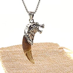 HZMAN Mens Metal Wolf Head and Real Teeth Pendant Necklace Stainless Steel chain