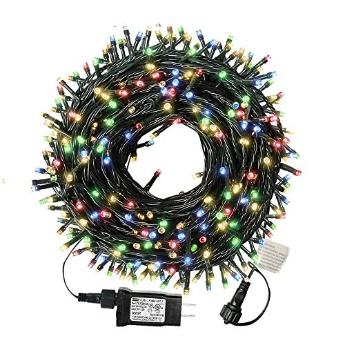 XTF2015 105ft 300 LED Christmas String Lights, End-to-End Plug 8 Modes Christmas Lights - UL Certified - Outdoor Indoor Fairy Lights Christmas Tree, Patio, Garden, Party, Wedding, Holiday (Colored)