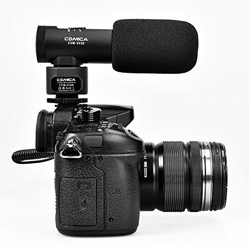 Comica CVM-SV20 Professional Full Metal Stereo on-camera Microphone, Interview Recording Shotgun Video Microphone for Canon/Nikon DSLR Video Cameras, Camcorder(3.5mm jack)