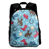 Cowboy Horse Boots Boys Girls Popular Printing Toddler Kid Pre School Backpack Bags Lightweight