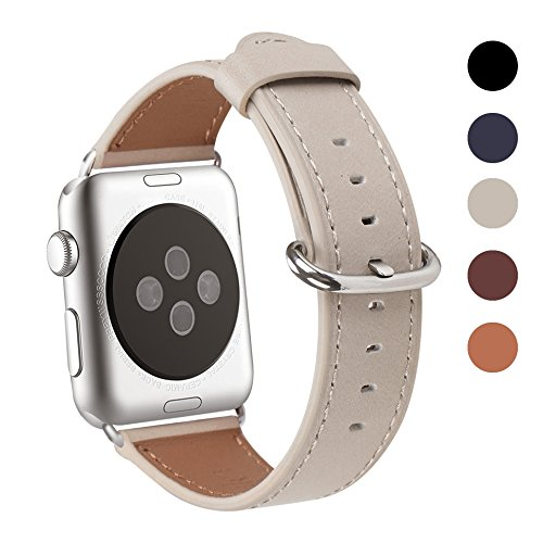 Apple Watch Band 42mm, WFEAGL Retro Top Grain Crazy Horse Leather Band Replacement Strap with Stainless Steel Clasp for iWatch Series 3,Series 2,Series 1,Sport, Edition (Ivory White+Silver Buckle)