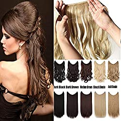 "Women Rubber Band Full Head Hair Extensions 24"" 125G Curly Wave Straight Brown Blonde Black Natural Synthetic Wire in Hair Extension no Clip no Tape(24"" curly medium brown)"