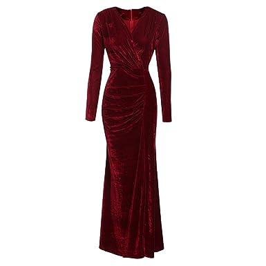 Vertvie Damen Kleid Herbst Winter Langarm Samt Velvet Vintage ...