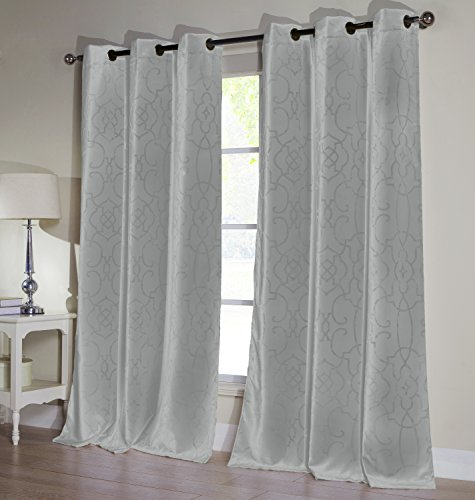 - Duck River Textiles - Home Decorator Blackout Room Darkening Window Curtain Pair Panel Drapes for Bedroom, Living Room - Set of 2 Panels - 52 X 84 Inch - Grey